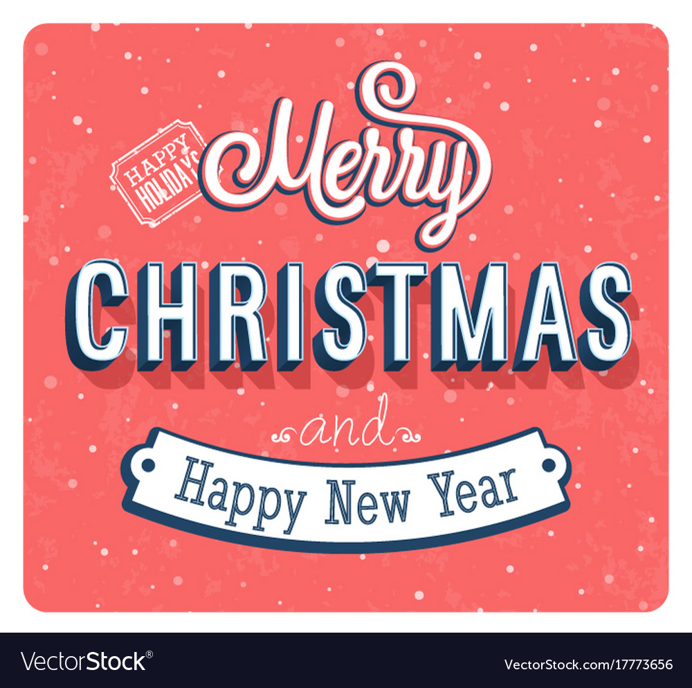 Merry christmas vintage greeting card