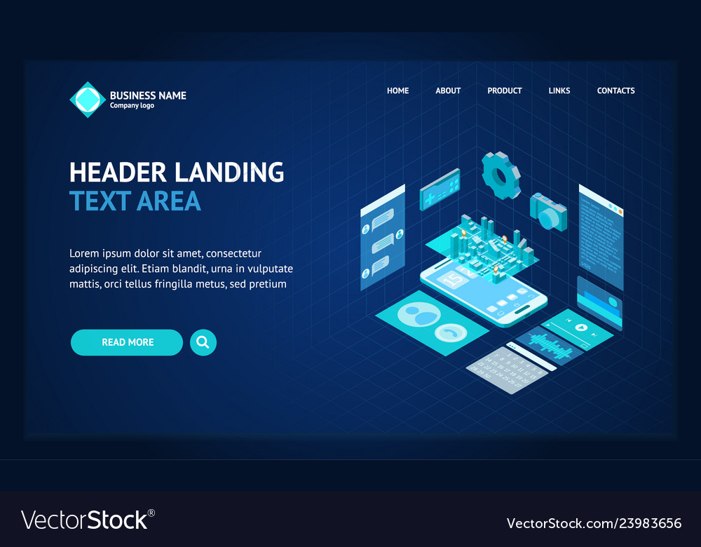 Mobile phone concept landing web page template 3d