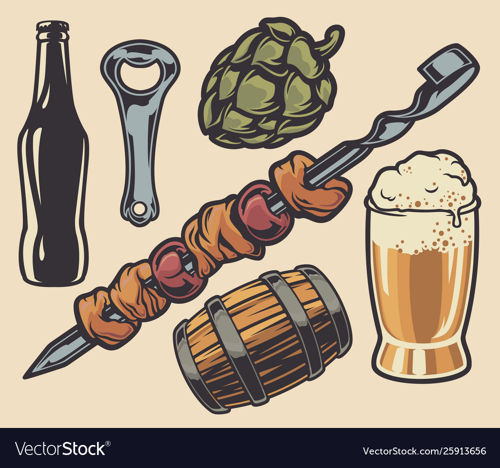 Set elements on theme barbecue and beer