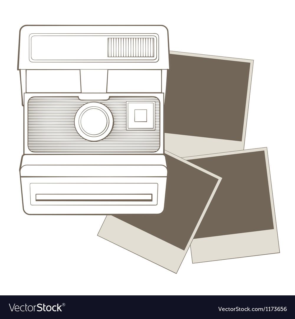 Vintage photo camera with vignette vector image