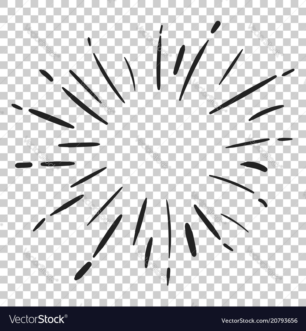 Vintage sunburst icon sun sketch burst doodle