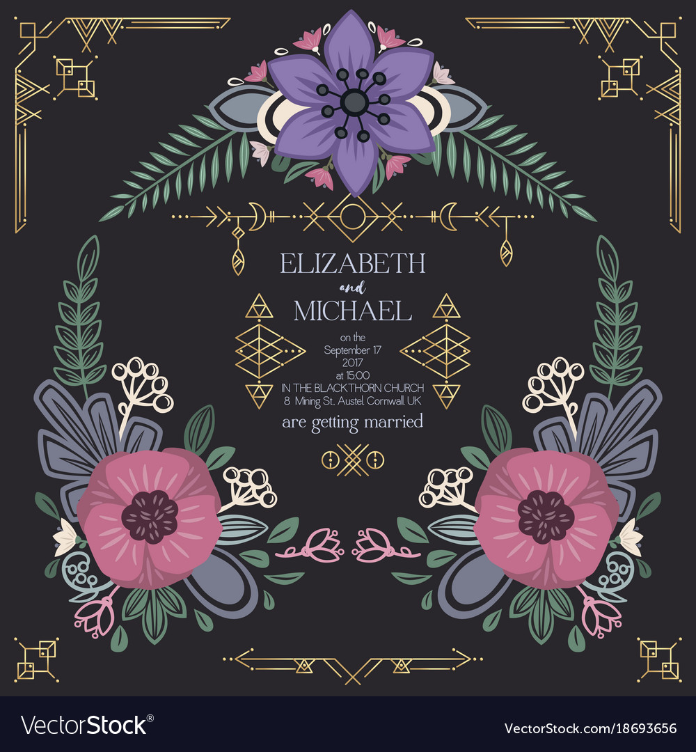 Wild flowers wedding invitation design