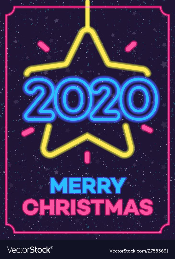 2020 christmas neon greeting card