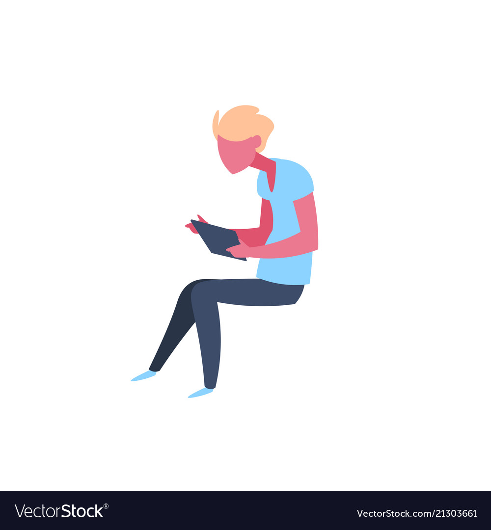 Casual man using tablet character sitting pose