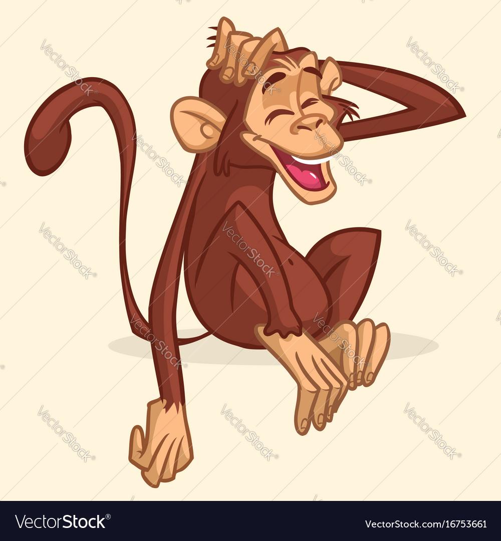 Cute cartoon drawing of a monkey sitting