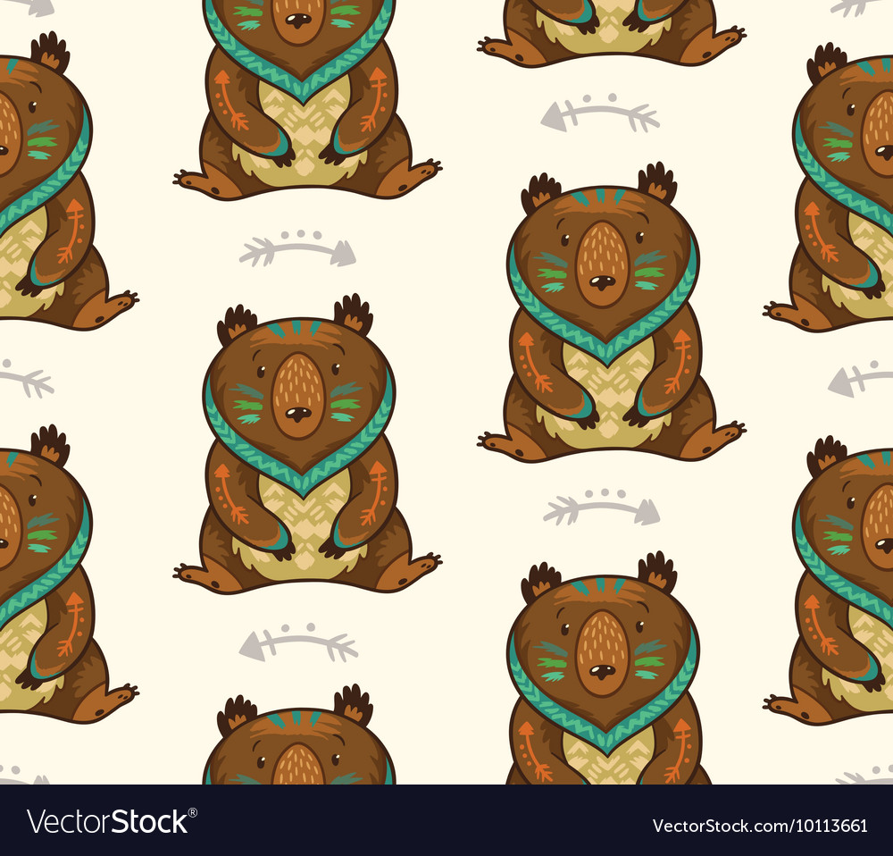 Indian seamless pattern of bear in