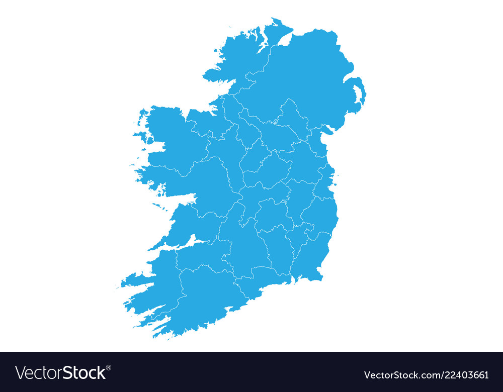 Detailed Map Of Ireland Vector.Map Of Ireland High Detailed Map Ireland Vector Image