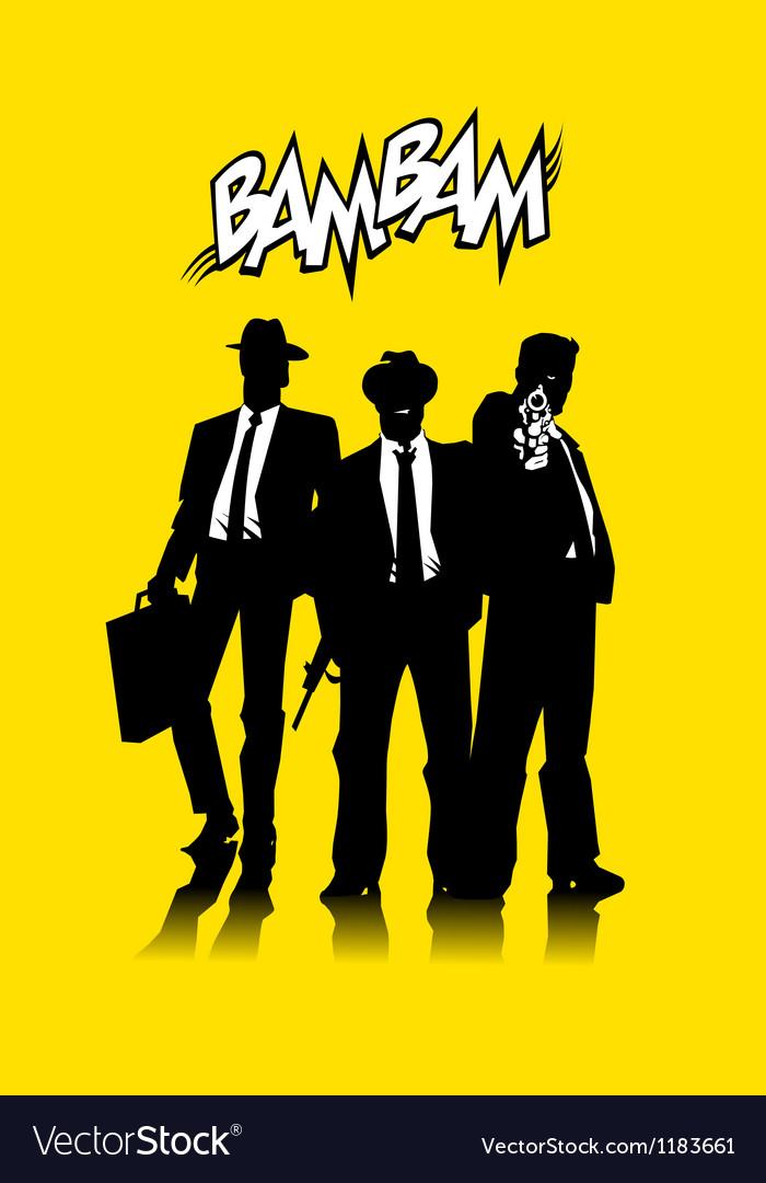 Three men in black vector image