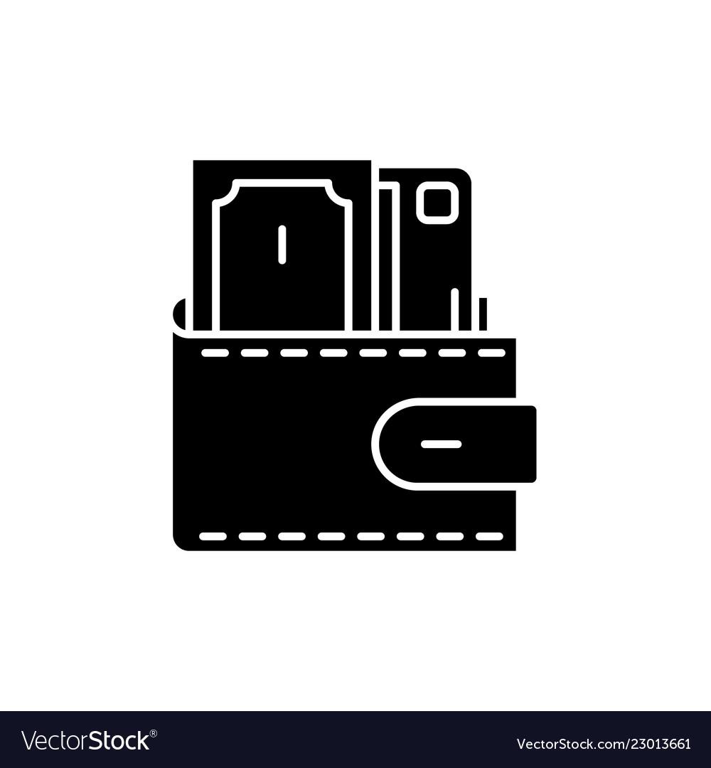 wallet with cash black icon sign on royalty free vector vectorstock
