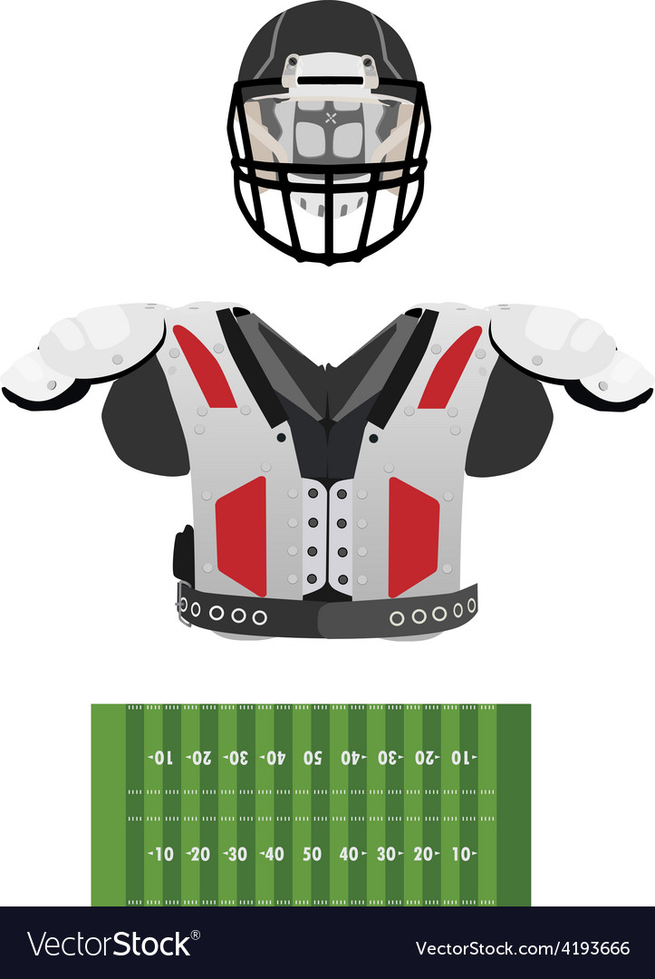 American football field helmet and armour vector image