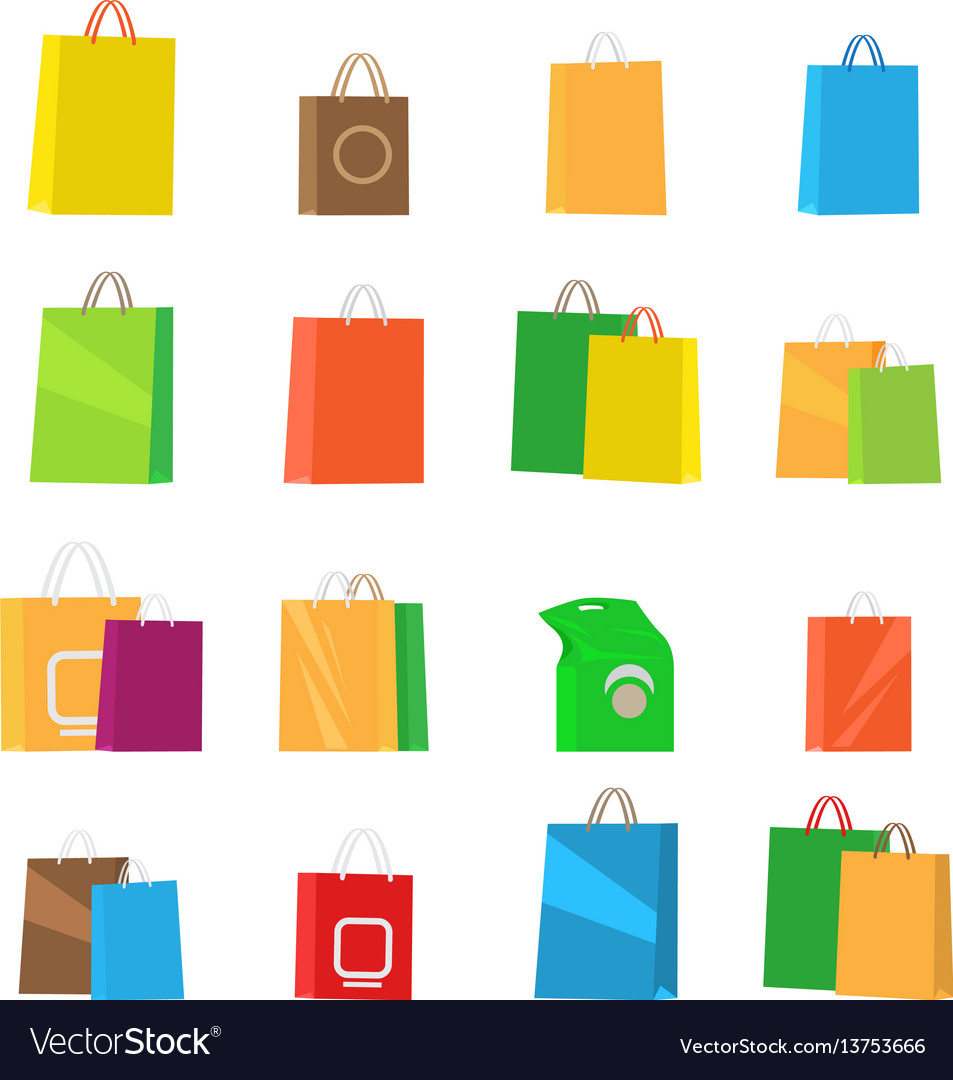 Colorful empty shopping bags isolated set