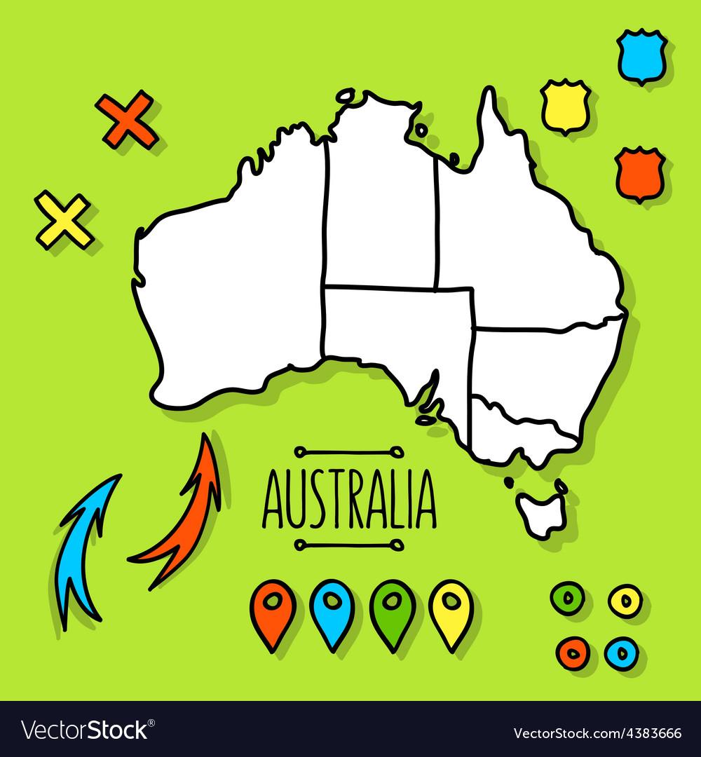 Free Map Of Australia To Print.Freehand Australia Travel Map On Green Background