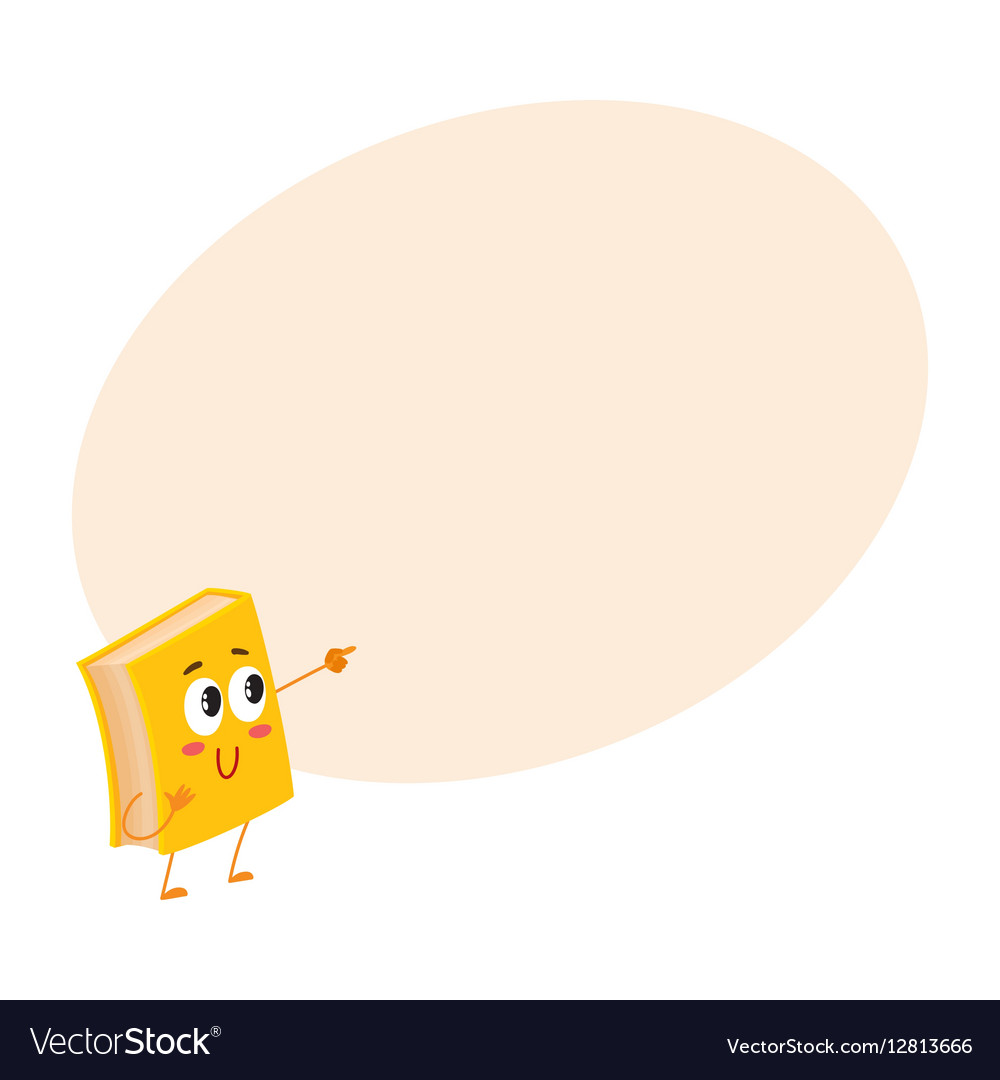 Funny book character pointing to something with