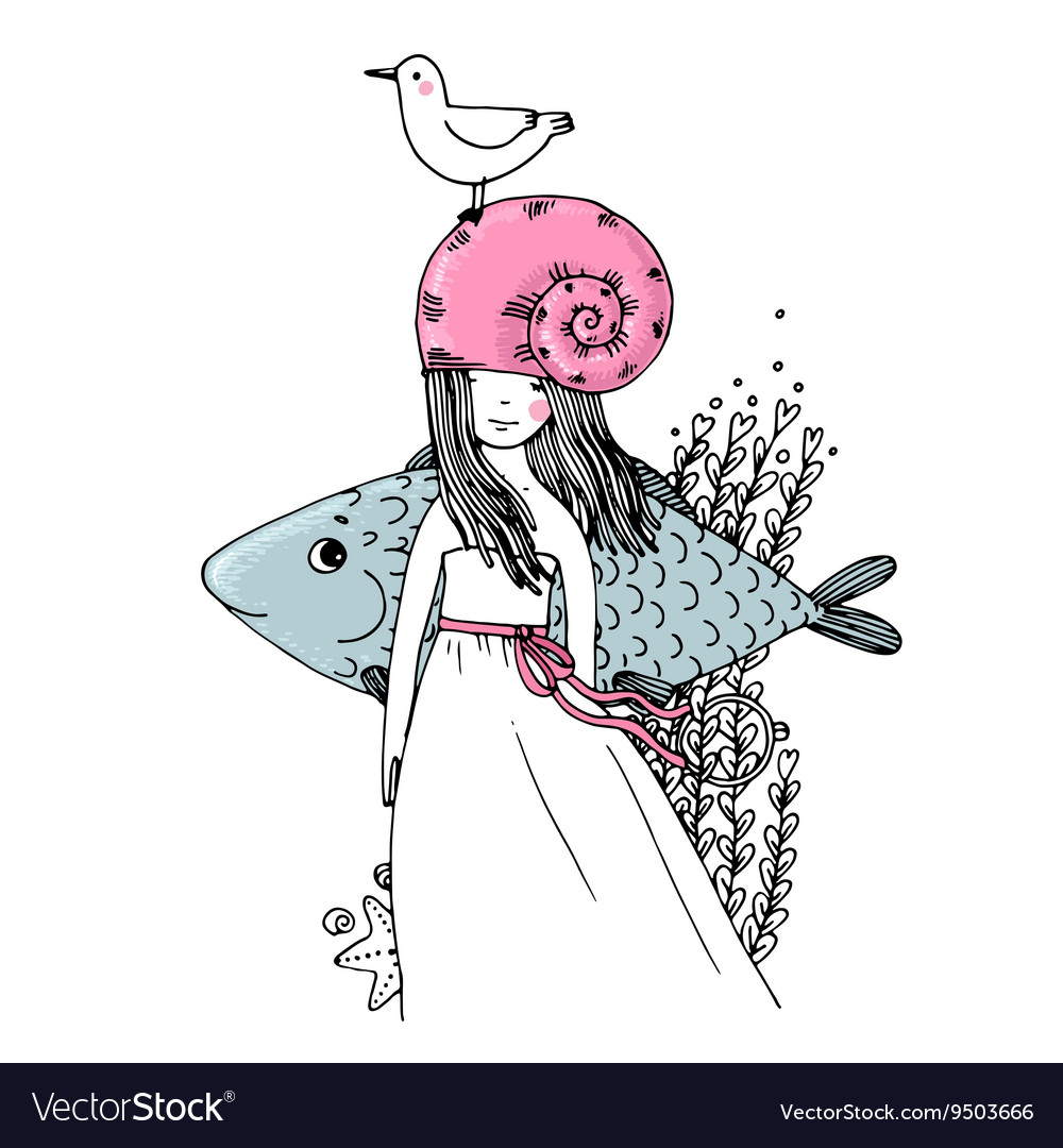 Girl fish seagulls seaweed starfish and a ring