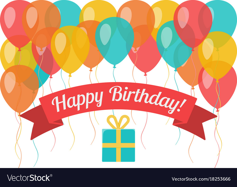 Happy Birthday Greeting Card With Flying Balloons Vector Image