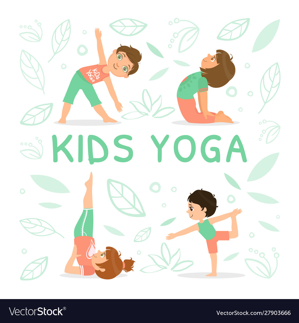 Kids Yoga Banner Template With Children Royalty Free Vector