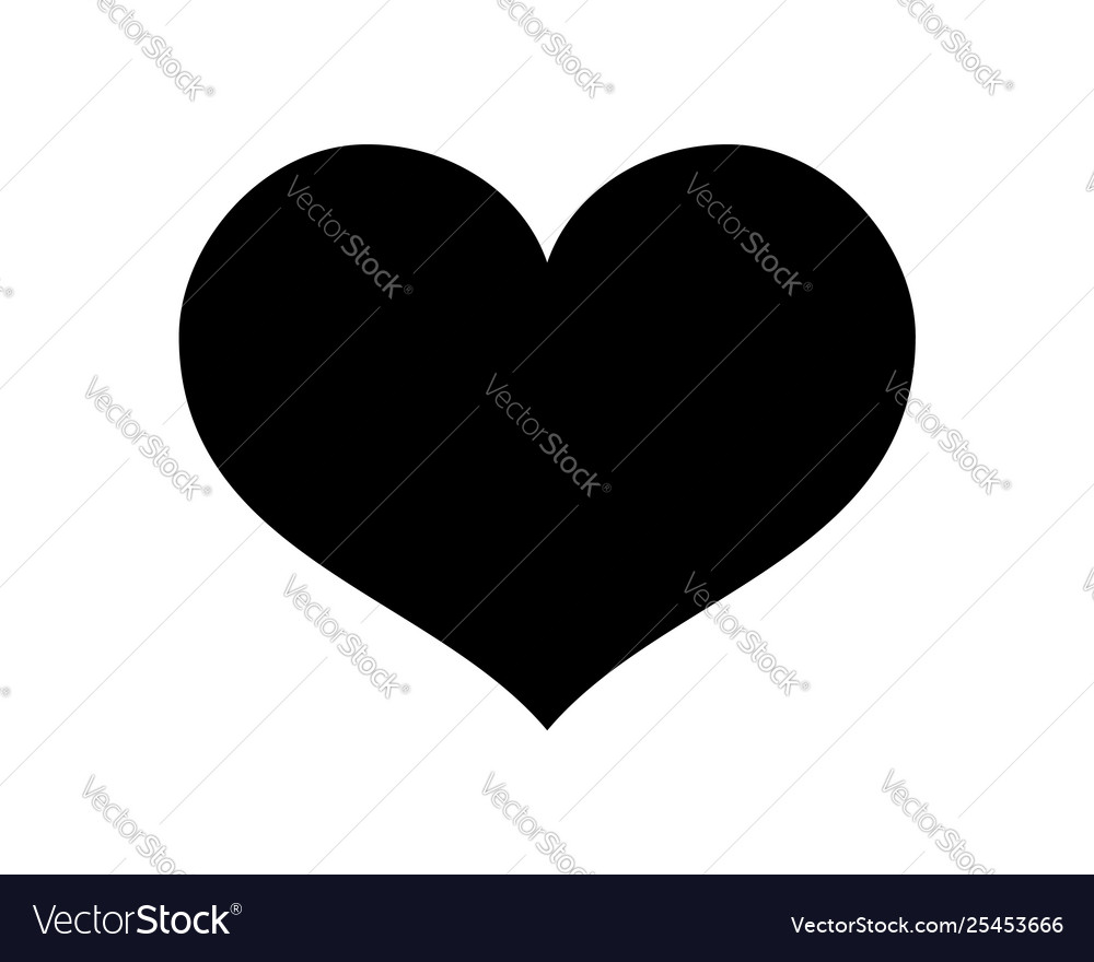 Love heart icon black silhouette isolated