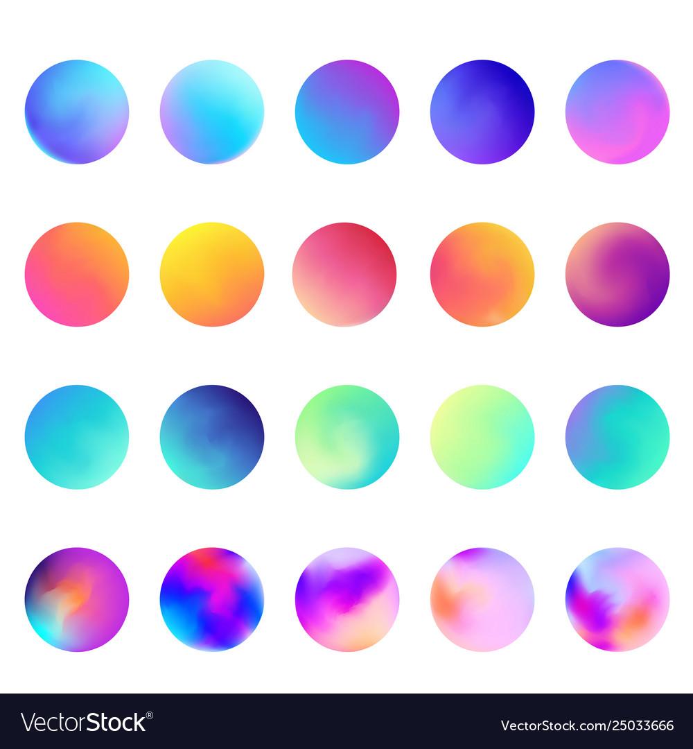 Rounded holographic gradient sphere set gradient