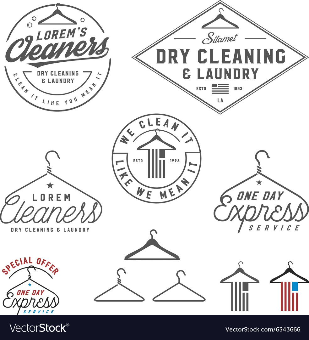 Vintage dry cleaning emblems and design elements