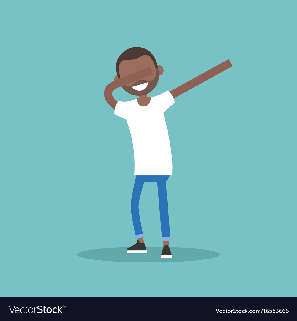 young black character making dab dance flat vector image
