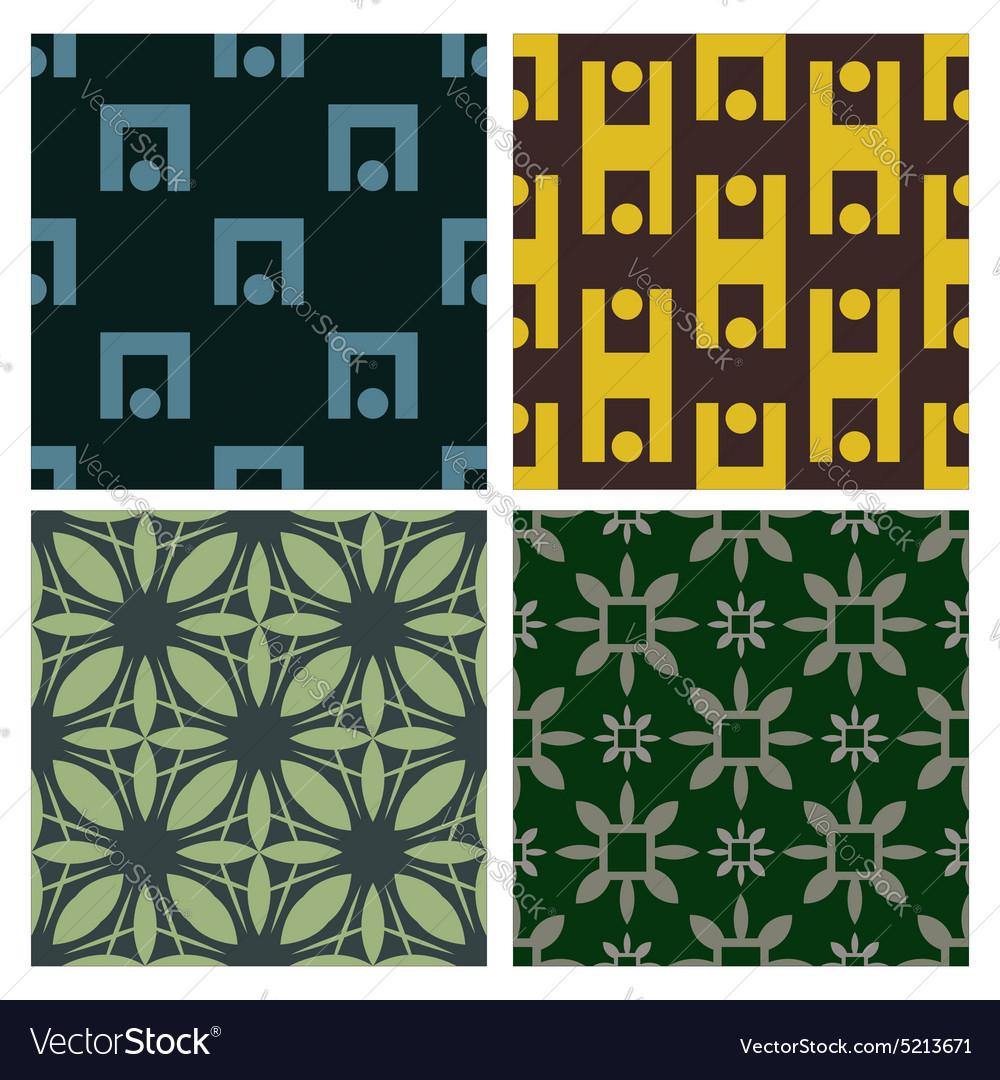 4 Retro different seamless patterns