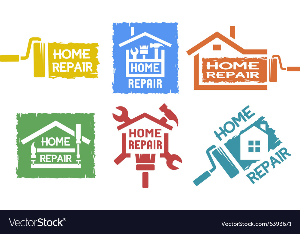 A set of emblem on the topic of home repair