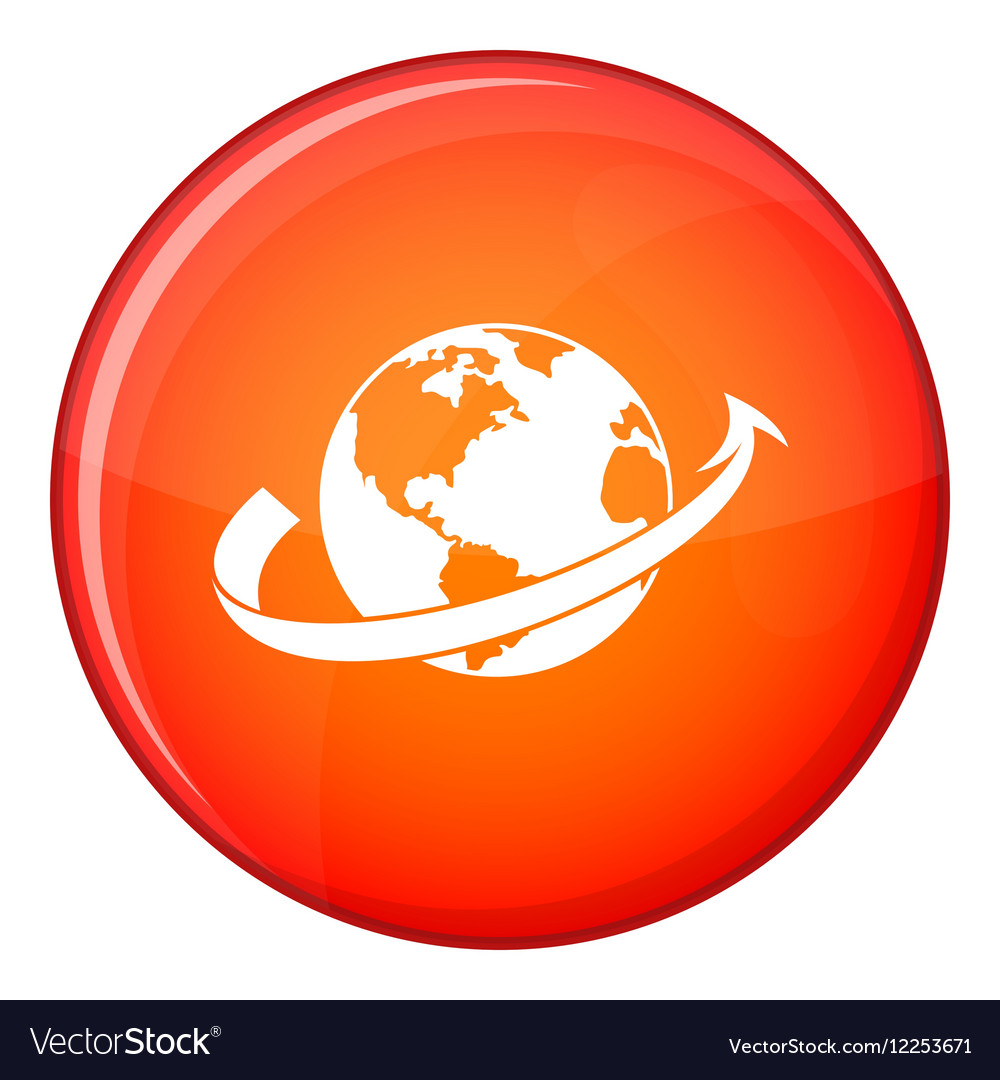 Airplane fly around the planet icon flat style