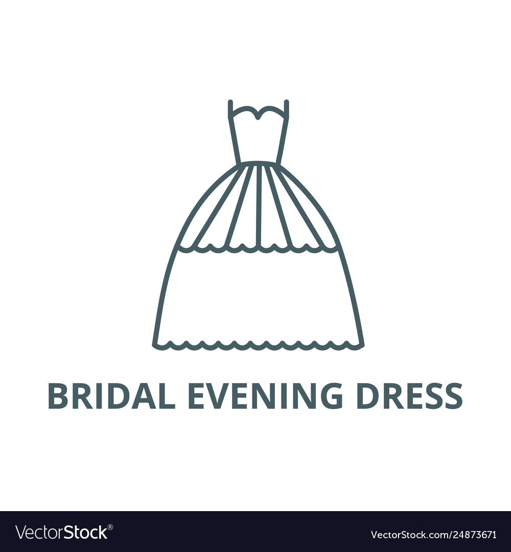 Bridal evening dress line icon bridal