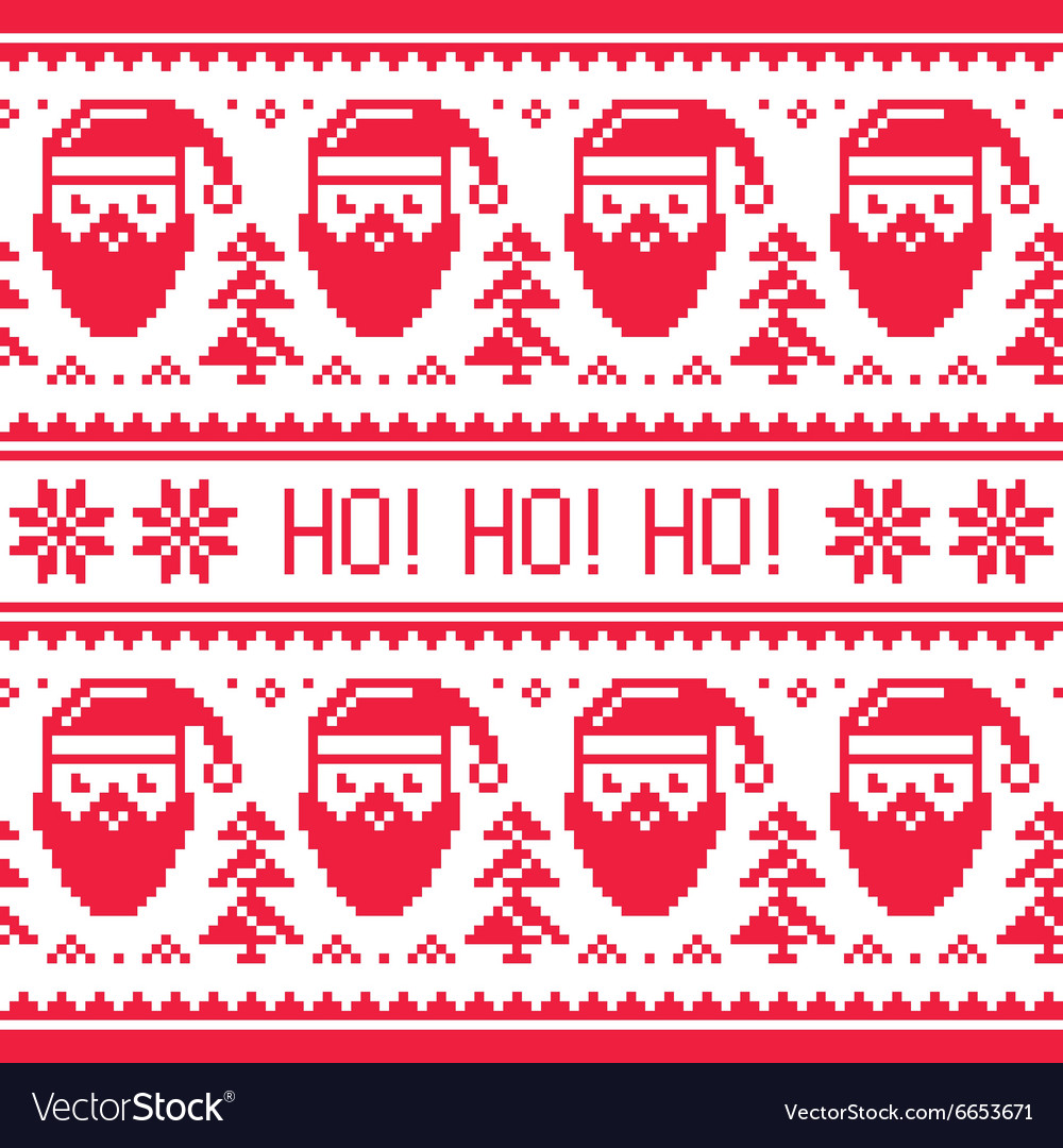 Christmas seamless red pattern with Santa