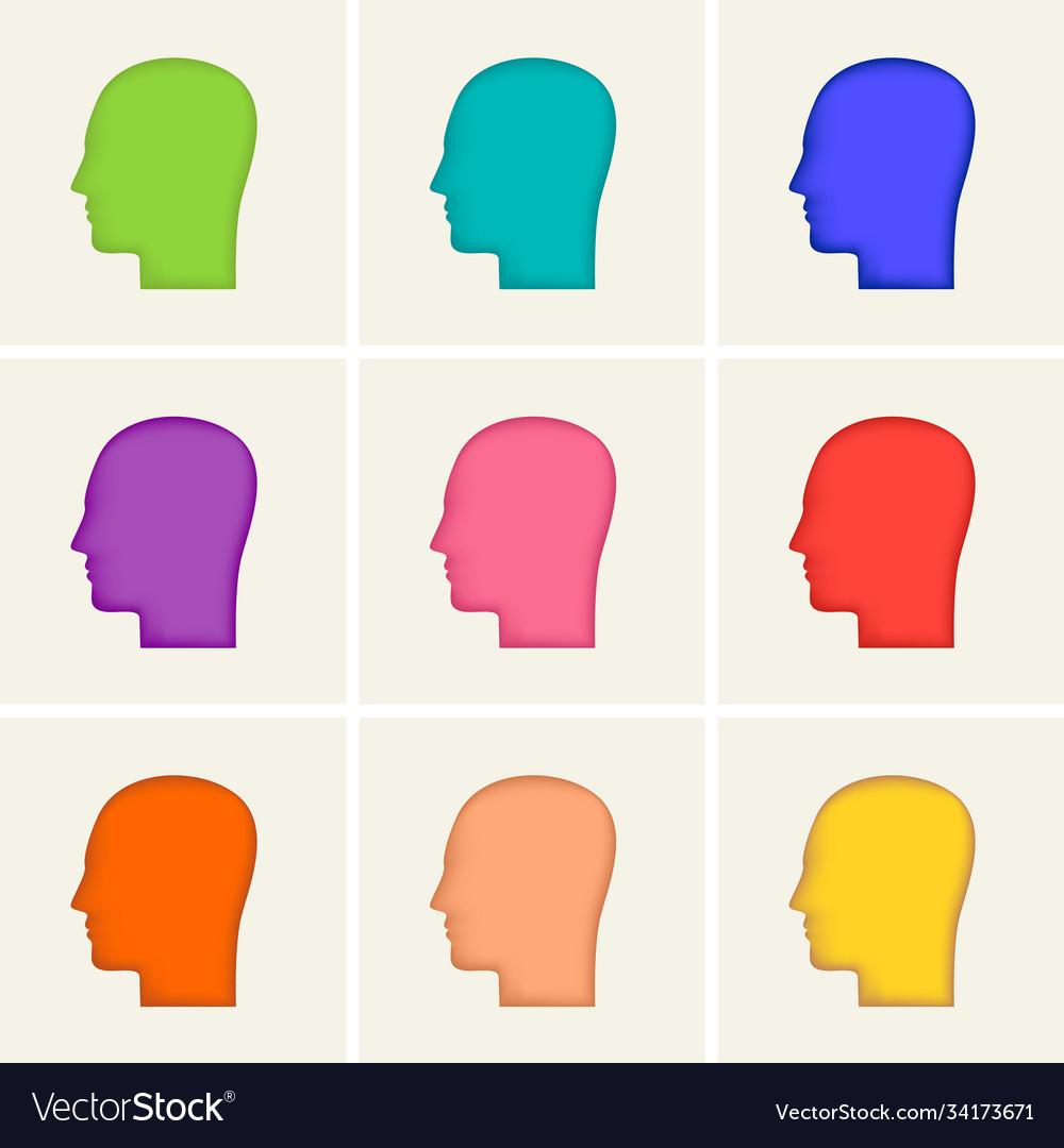 Colored icons set human head profile silhouette