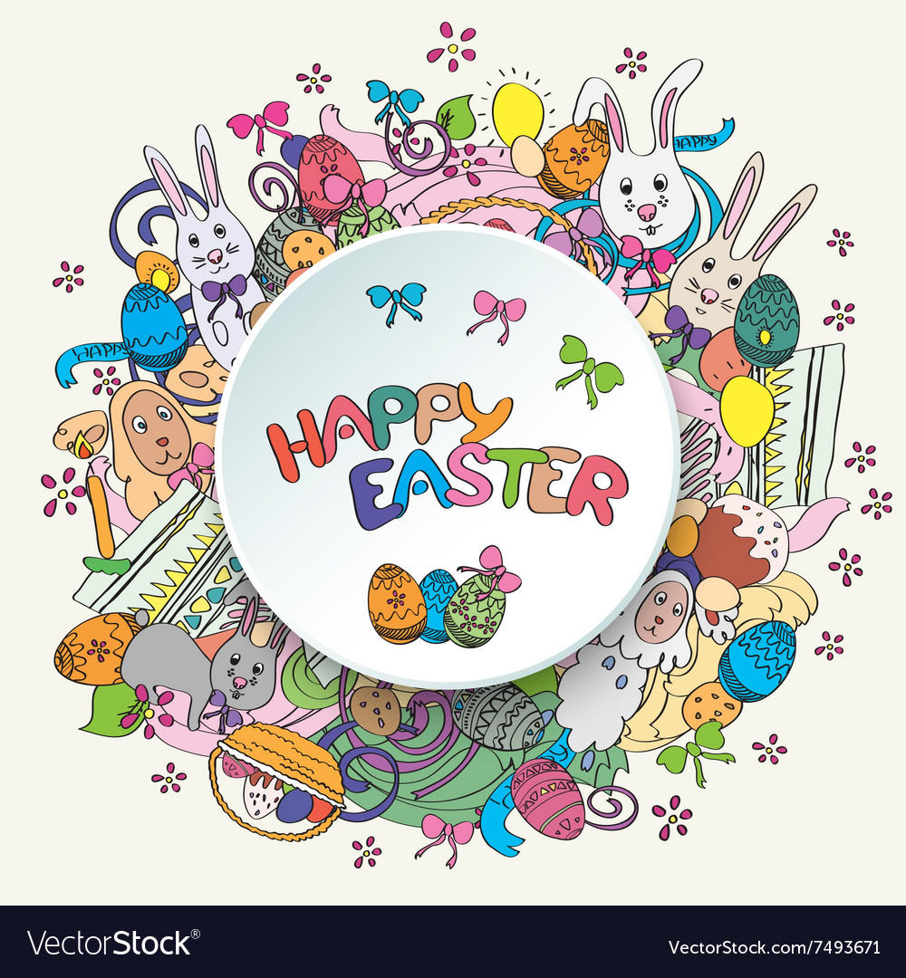 Colorful happy easter greeting card in