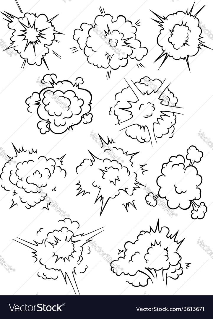 Comics explosion clouds set vector image