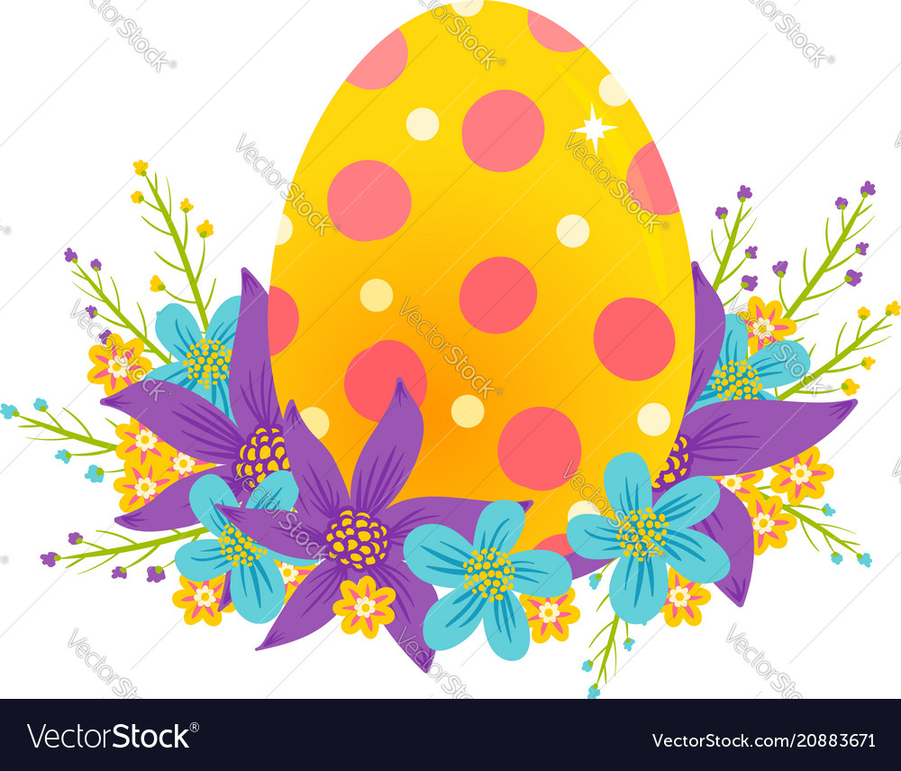 Egg with colorful flowers