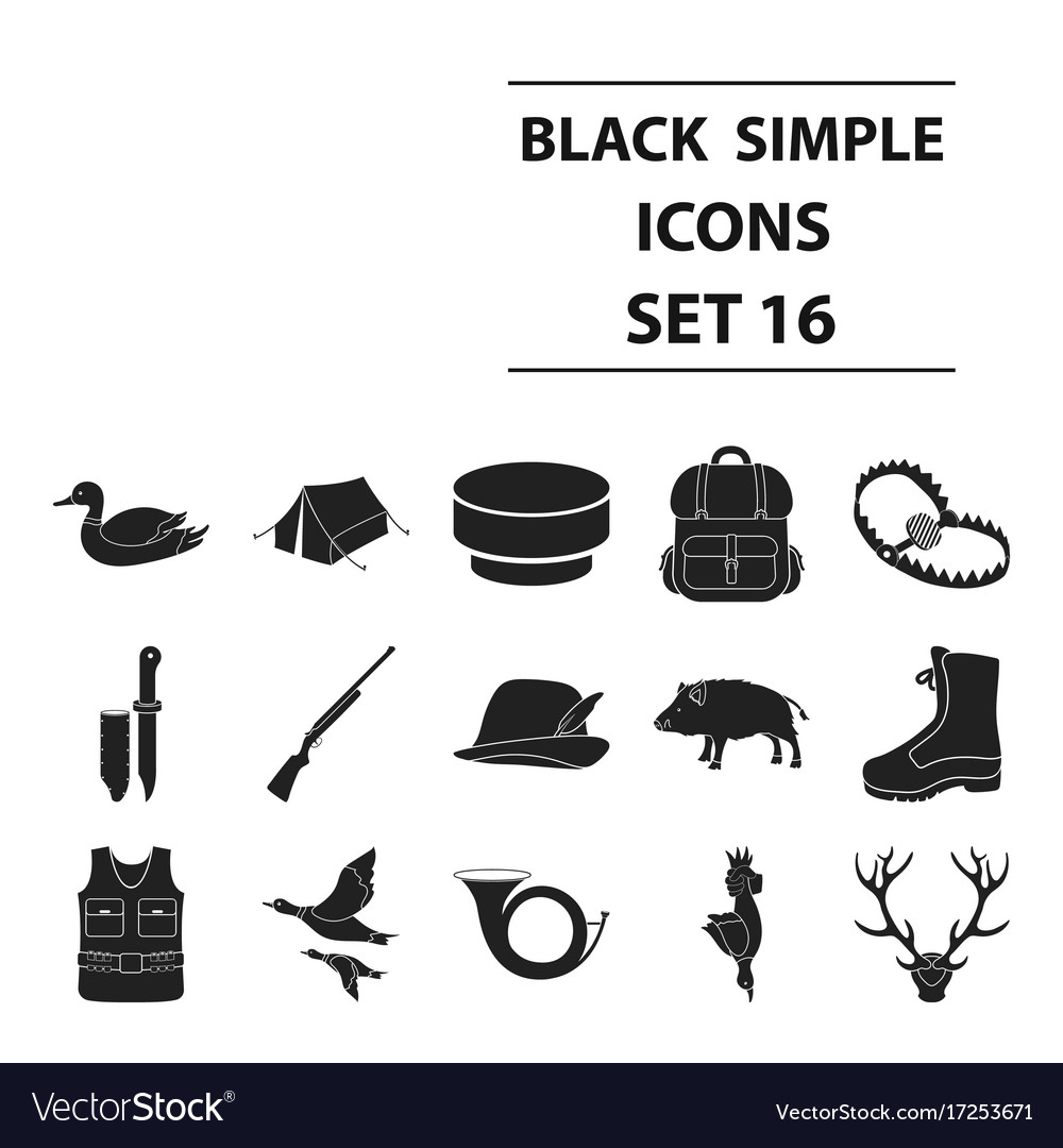 Hunting set icons in black style big collection