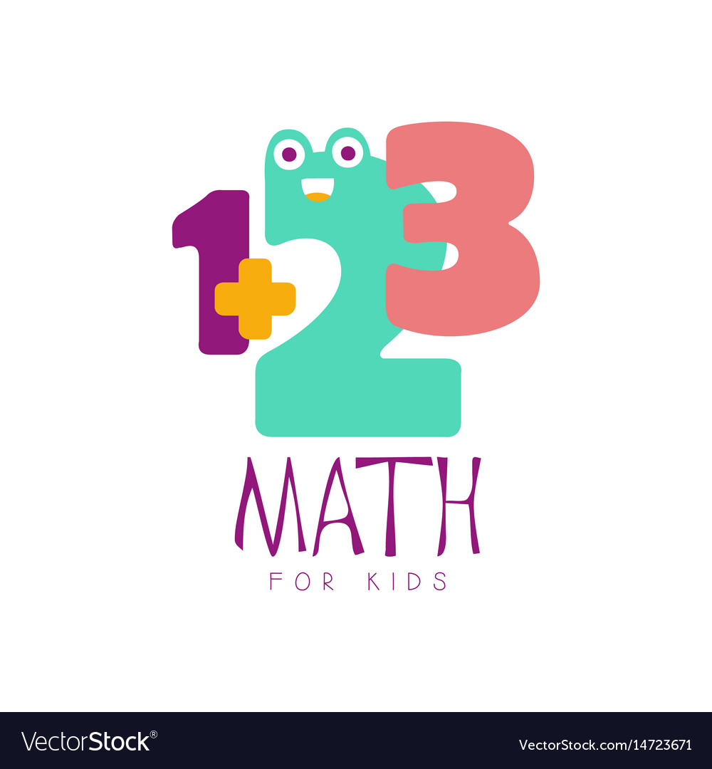Math For Kids Logo Symbol Colorful Hand Drawn Vector Image