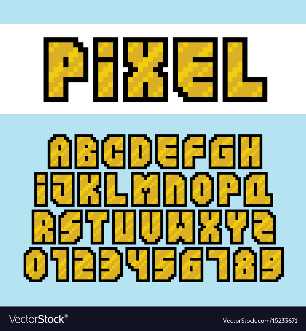 Pixel art style golden alphabet and numbers