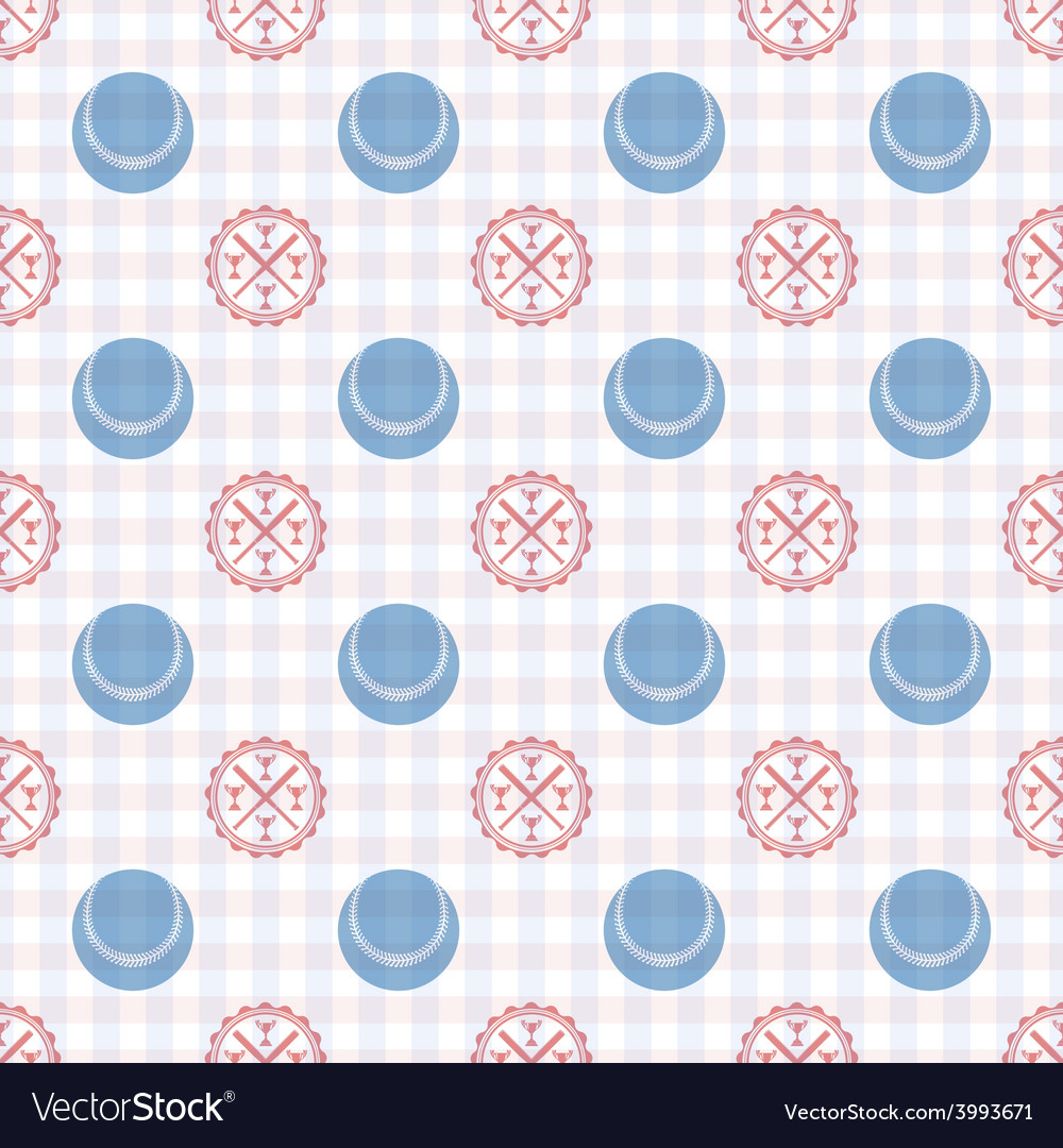 Seamless pattern of baseball vector image