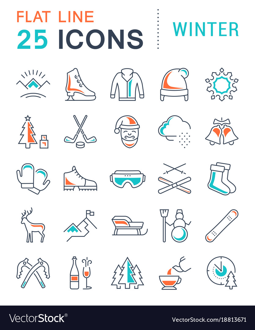 Set flat line icons winter