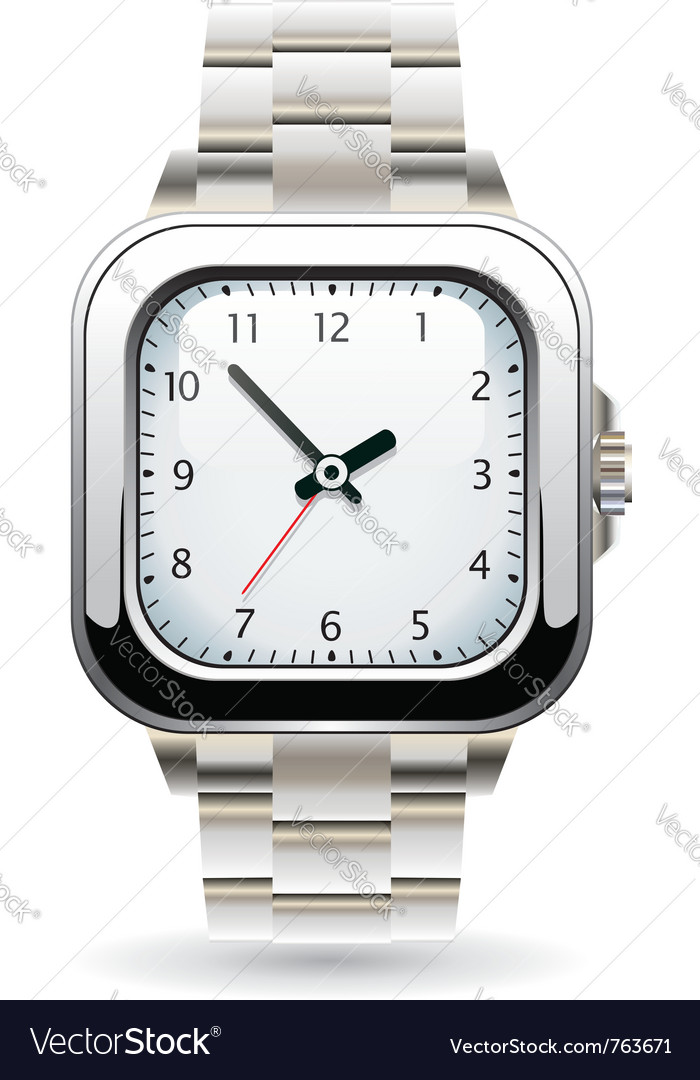 Silver wristwatch vector image