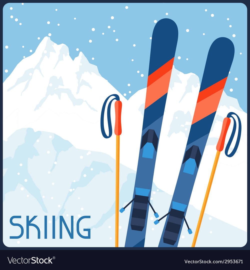 Skiing equipment on background of mountain winter