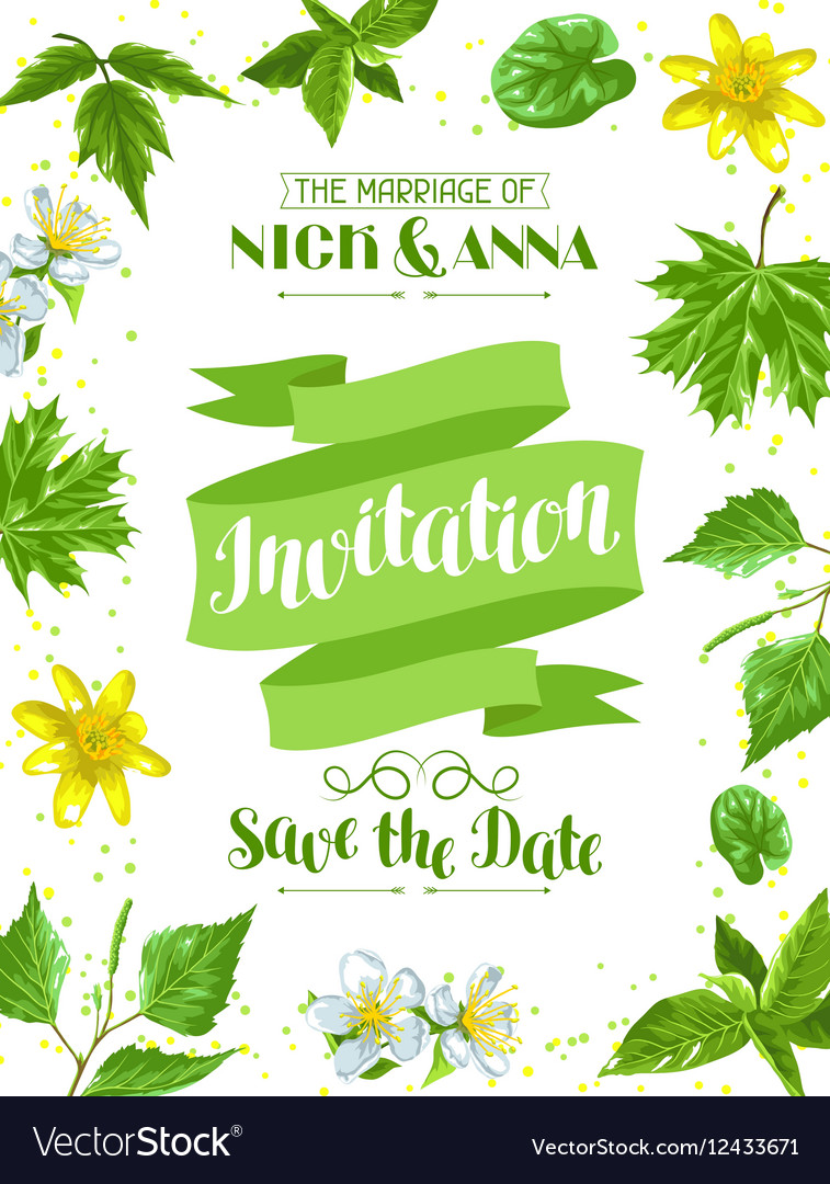 Spring green leaves and flowers Wedding vector image