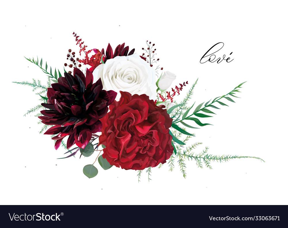 Stylish burgundy dahlia ivory white and red wine