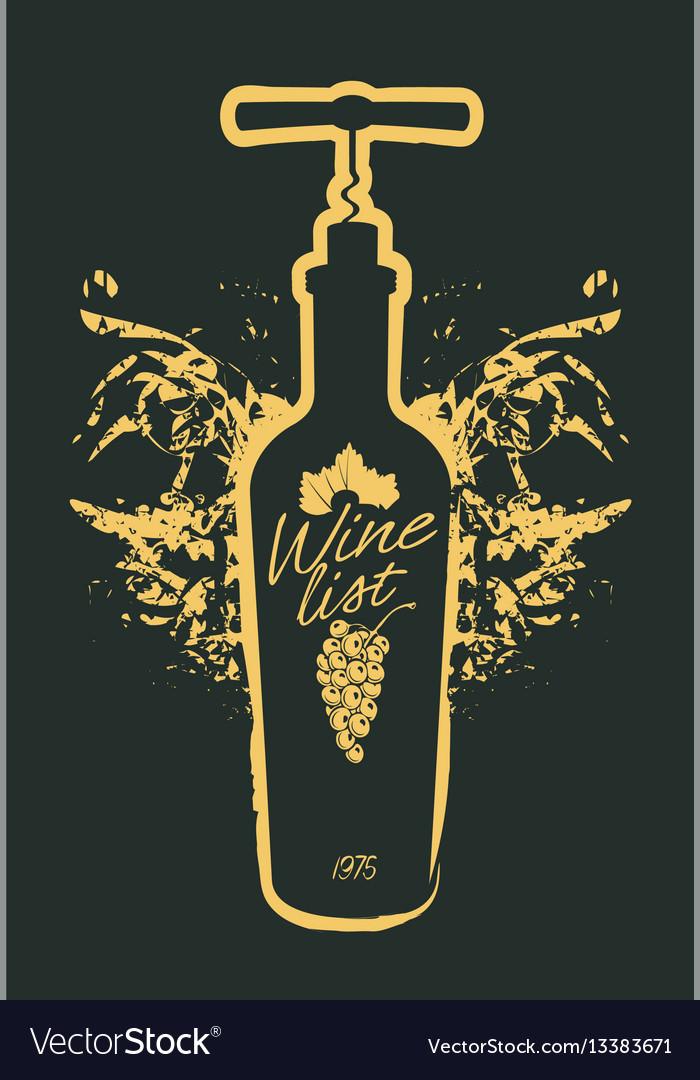 Wine bottle and corkscrew on black