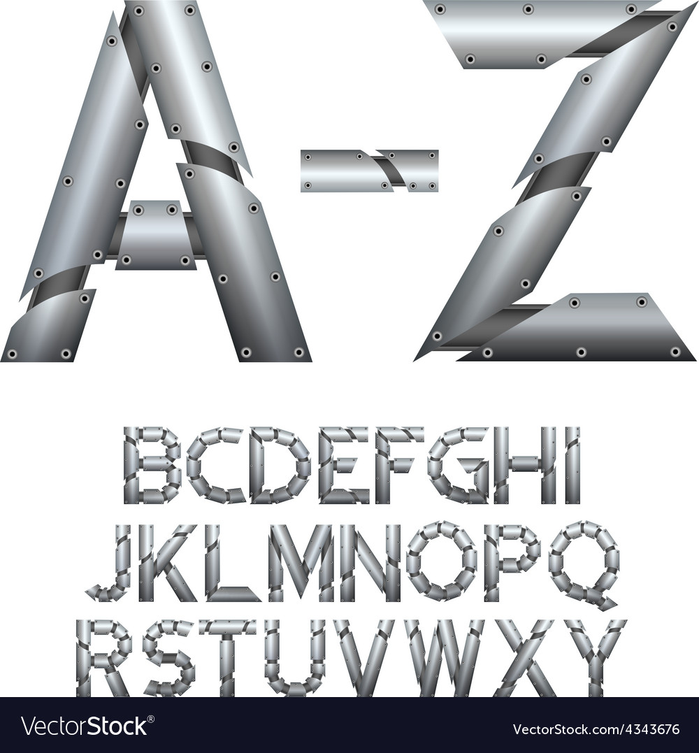 Alphabet Metal construction Isolated on white