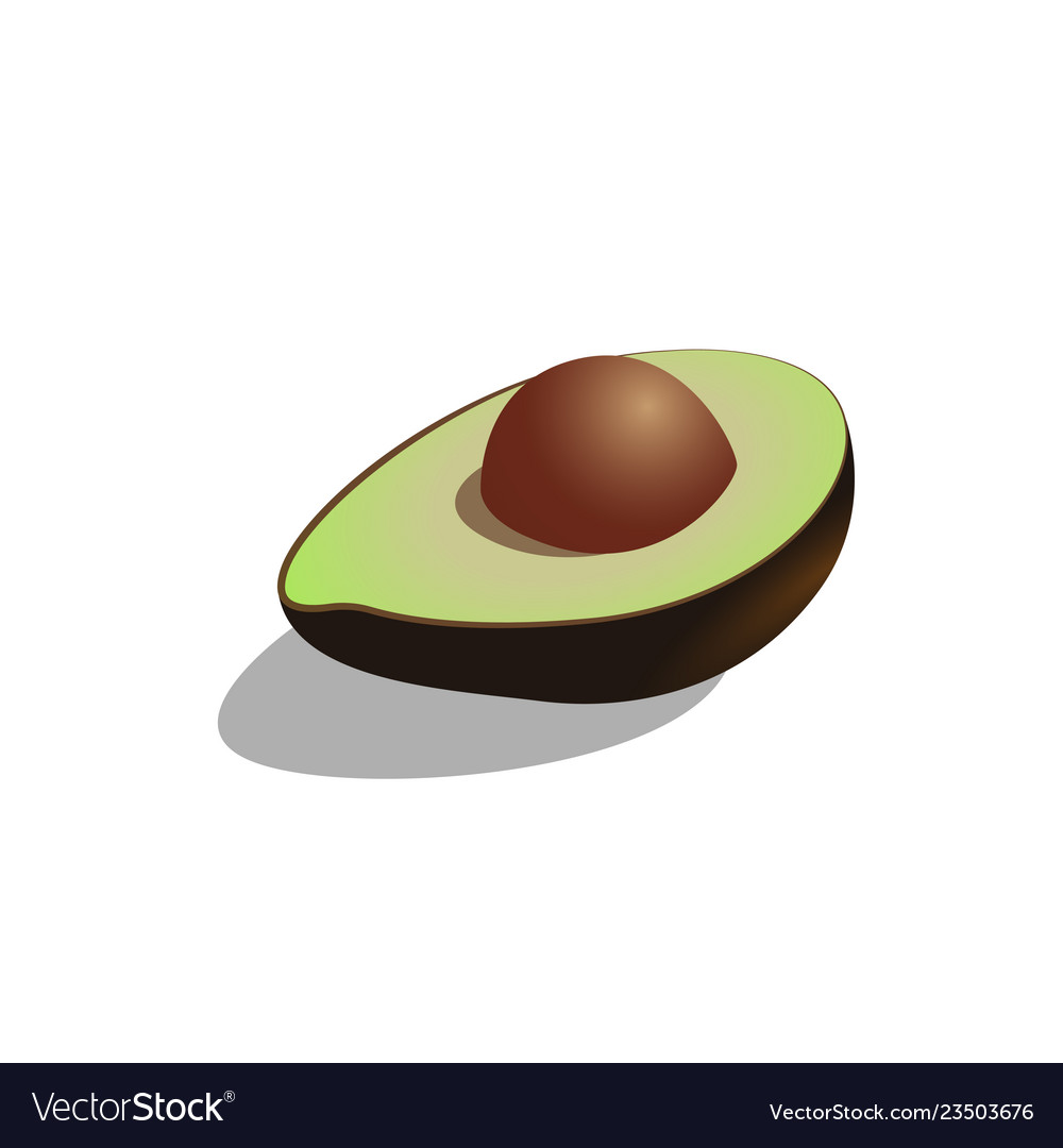 Avocado cut into halves symbol isolated on
