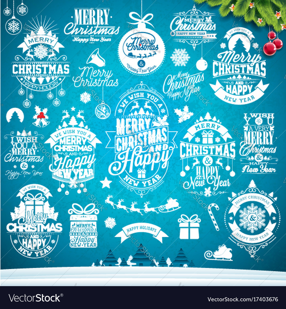 Christmas decoration collection calligraphic