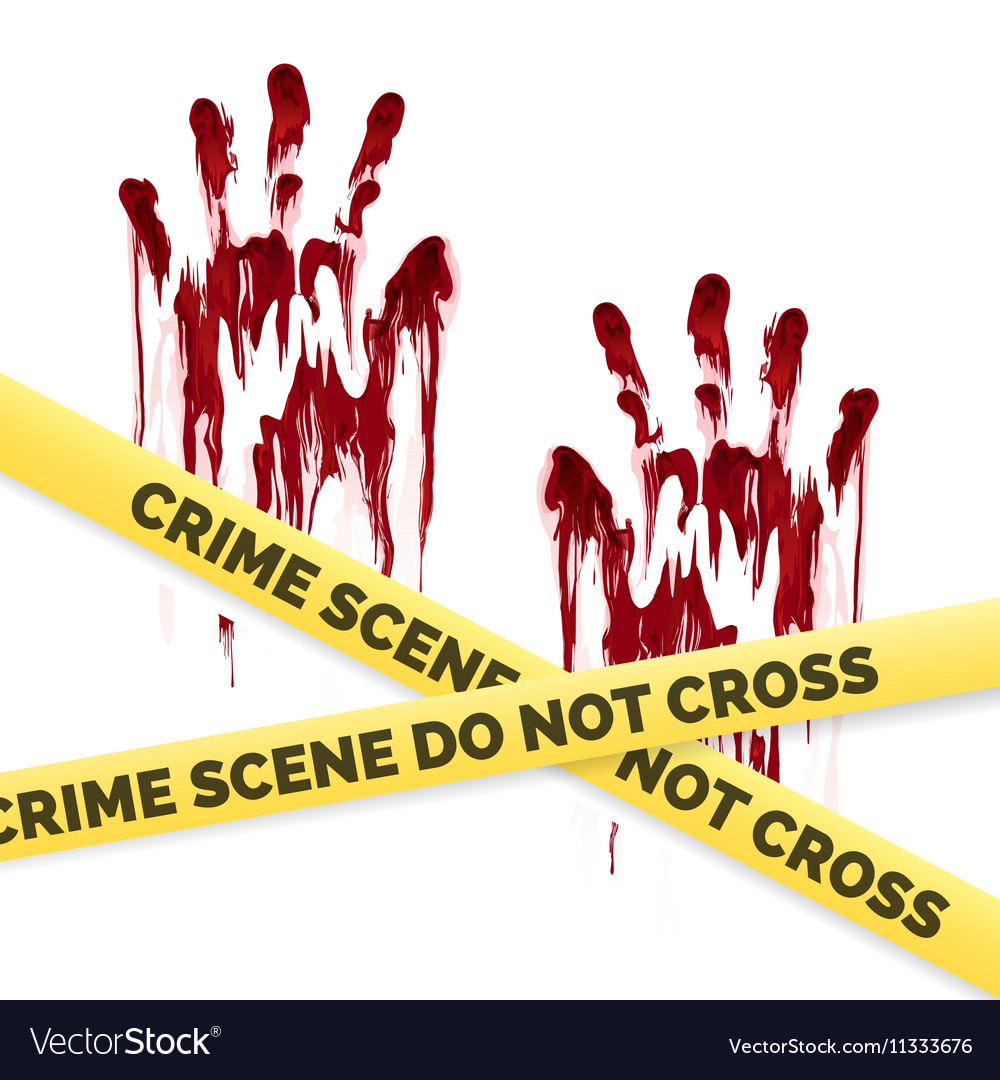 Crime poster with bloody handprints
