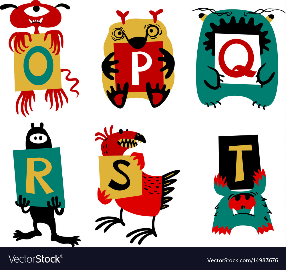 Kids alphabet with cute colorful monsters or