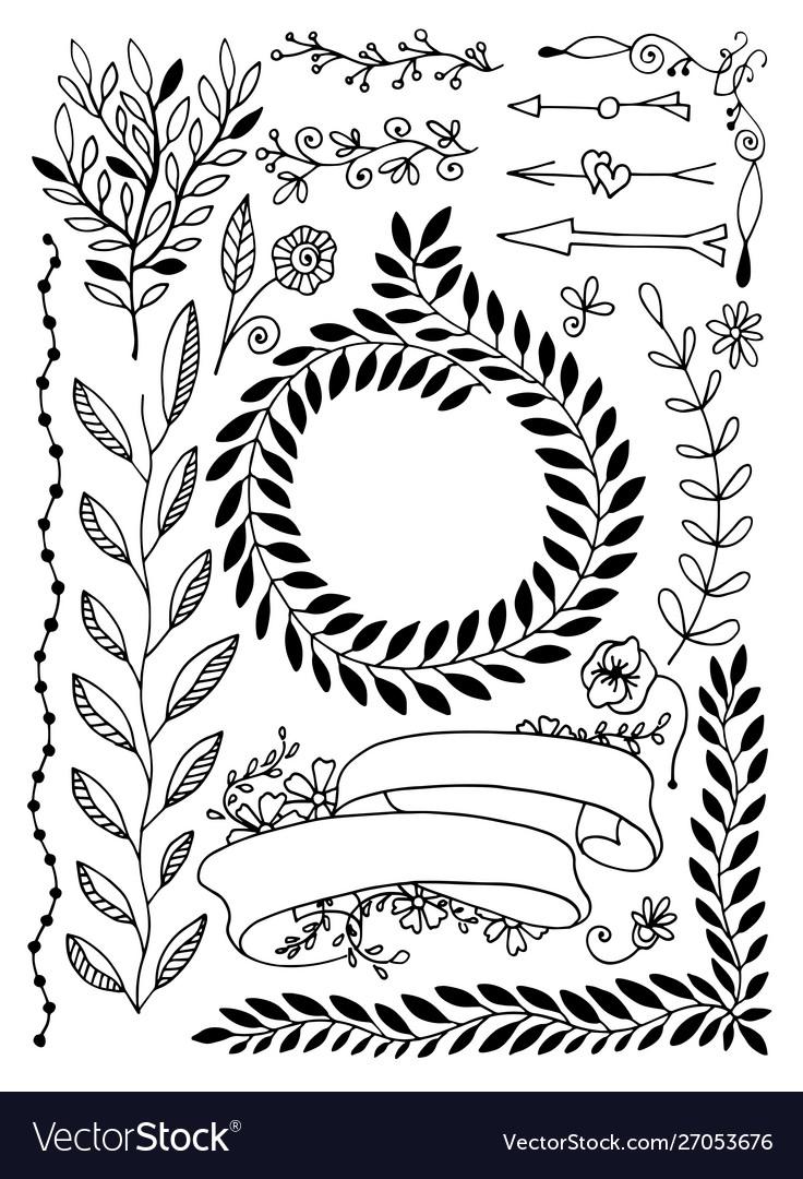 Set hand drawing sketch doodle divider decor