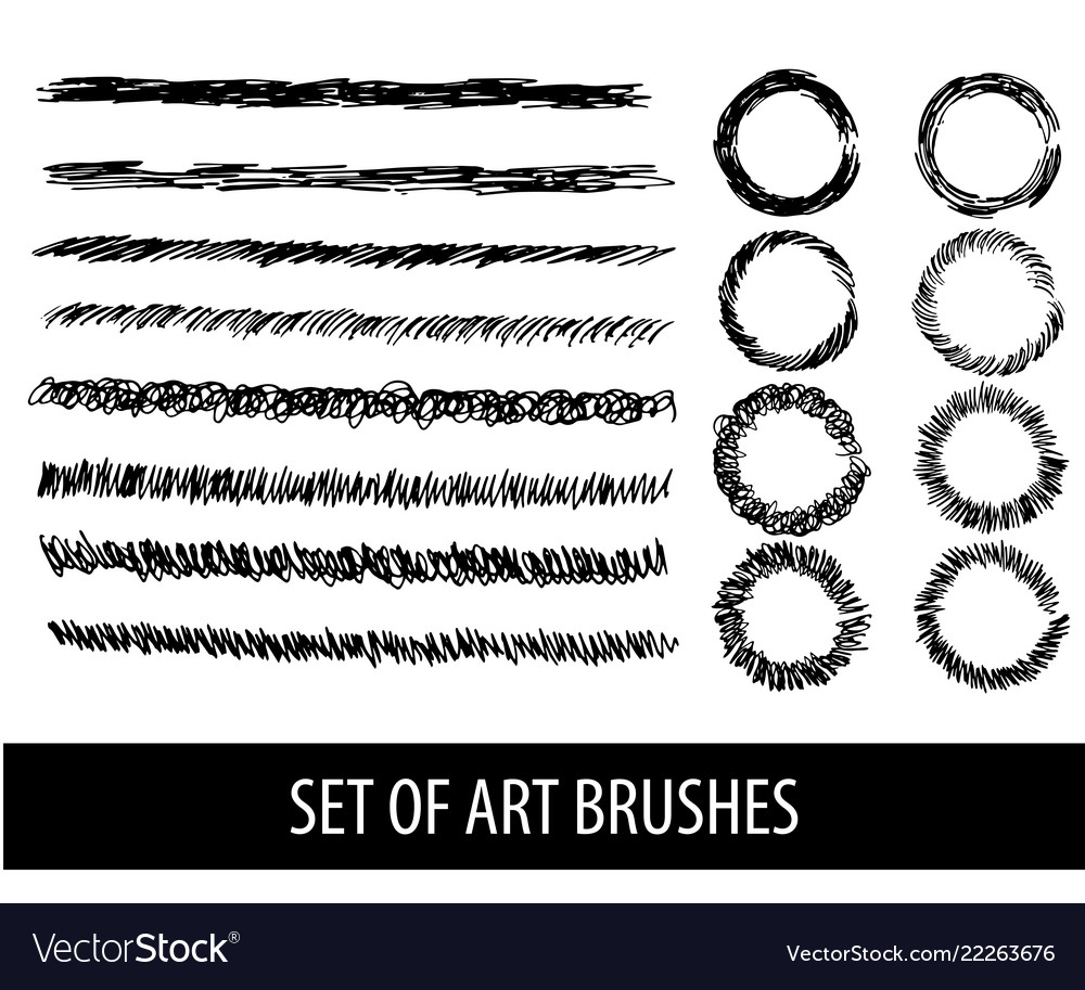 Set of eight brushes for drawing